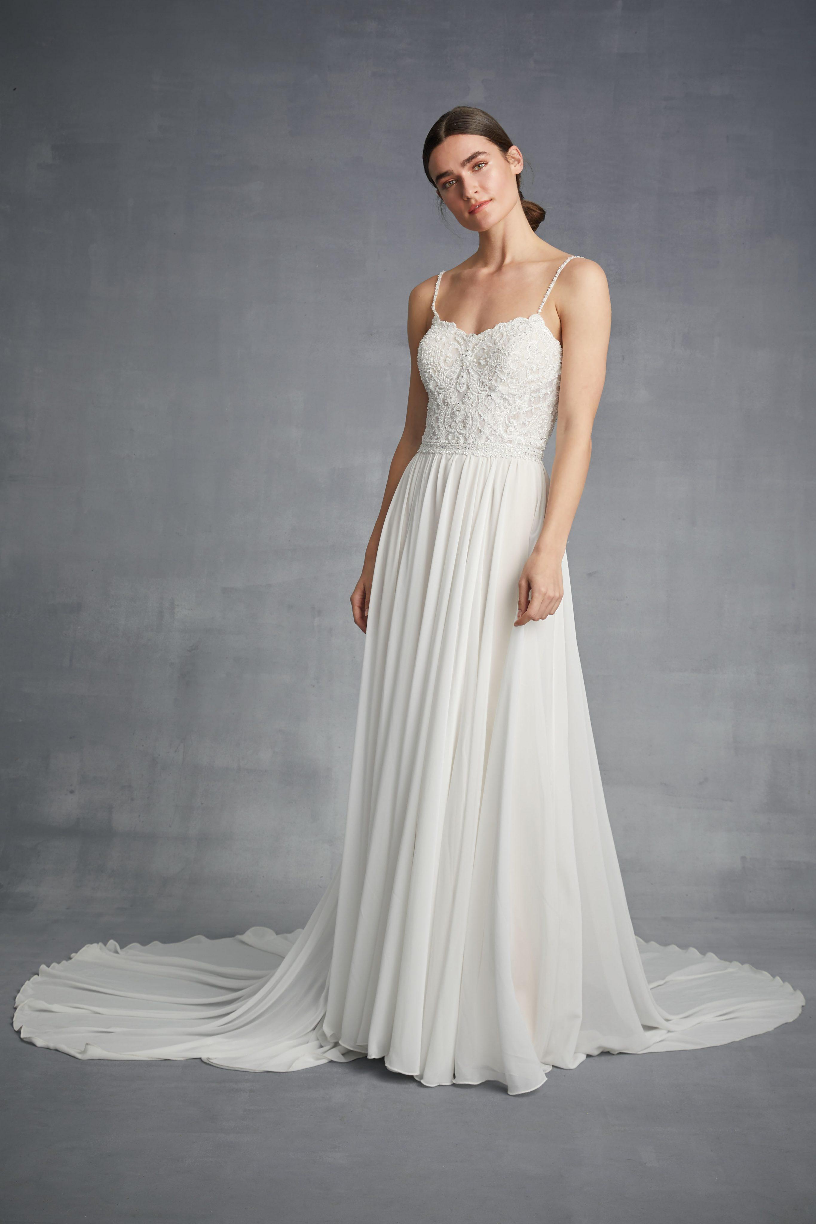 b2c6d1e1d Spaghetti Strap Sheath Chiffon Wedding Dress | Kleinfeld Bridal. Charming  Spaghetti Straps Backless Sheath V-Neck Satin Chiffon Wedding ...
