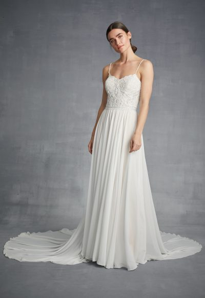 Spaghetti Strap Sheath Chiffon Wedding Dress by Danielle Caprese