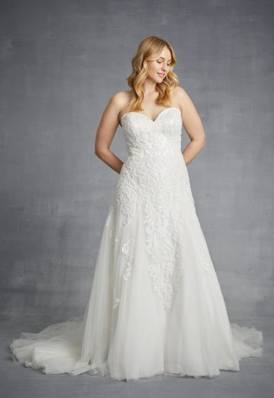 Strapless Beaded Lace A-line Wedding Dress by Danielle Caprese