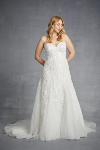 Strapless Beaded Lace A-line Wedding Dress by Danielle Caprese - Image 1