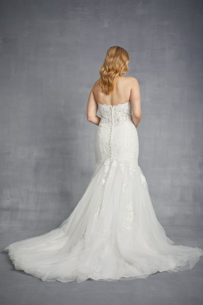 Strapless Floral Lace Mermaid Wedding Dress With Tulle Skirt by Danielle Caprese - Image 2