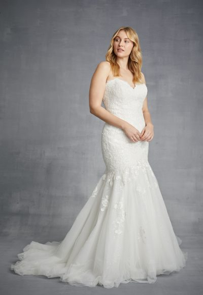 Strapless Floral Lace Mermaid Wedding Dress With Tulle Skirt by Danielle Caprese
