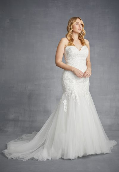 Strapless Lace Mermaid Weding Dress With Tulle Skirt by Danielle Caprese