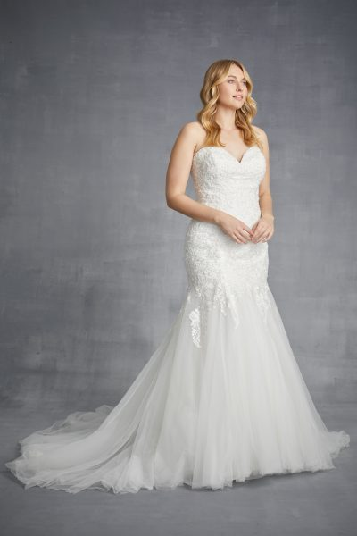 Strapless Lace Mermaid Weding Dress With Tulle Skirt by Danielle Caprese - Image 1