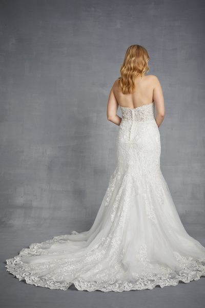 Sweetheart Strapless Beaded Lace Fit And Flare Wedding Dress by Danielle Caprese - Image 2
