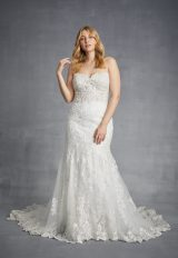Sweetheart Strapless Beaded Lace Fit And Flare Wedding Dress by Danielle Caprese - Image 1