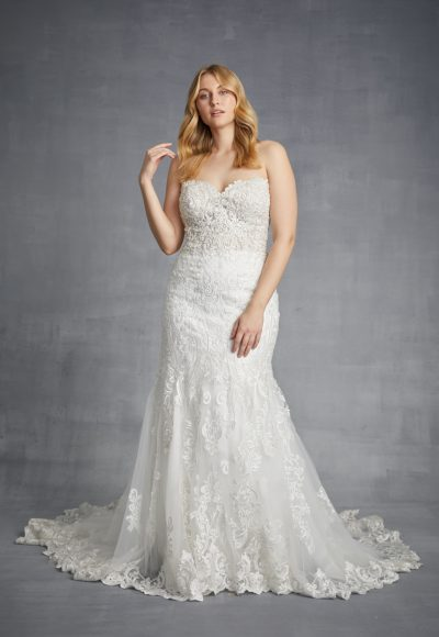 Sweetheart Strapless Beaded Lace Fit And Flare Wedding Dress by Danielle Caprese