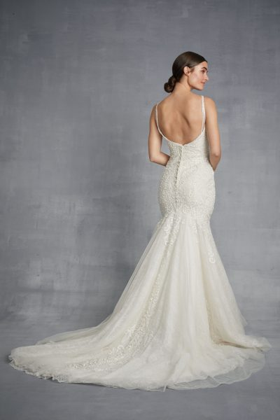 V-neck Beaded Mermaid Wedding Dress by Danielle Caprese - Image 2