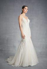 V-neck Beaded Mermaid Wedding Dress by Danielle Caprese - Image 1