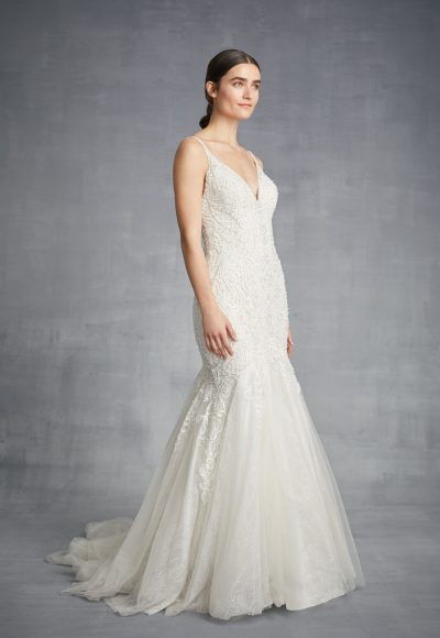 V-neck Beaded Mermaid Wedding Dress by Danielle Caprese