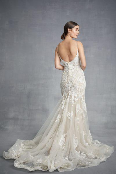 V-neck Sheath Floral Wedding Dress by Danielle Caprese - Image 2
