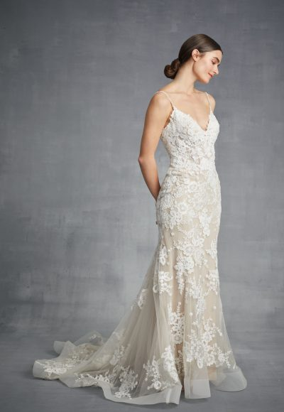 V-neck Sheath Floral Wedding Dress by Danielle Caprese