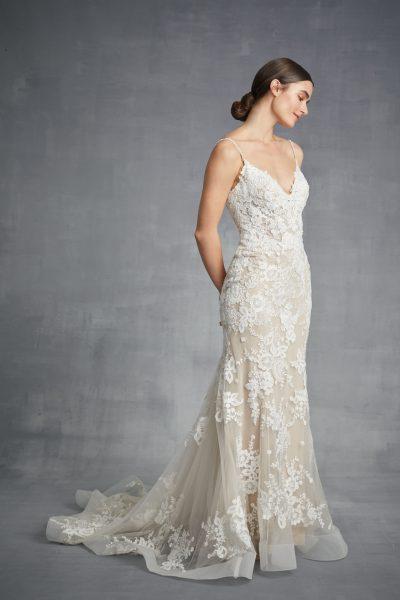 V-neck Sheath Floral Wedding Dress by Danielle Caprese - Image 1