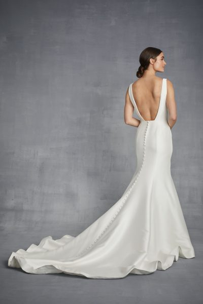 V-neck Silk Fit And Flare Wedding Dress by Danielle Caprese - Image 2