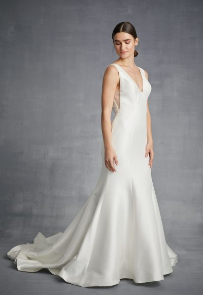 V-neck Silk Fit And Flare Wedding Dress by Danielle Caprese