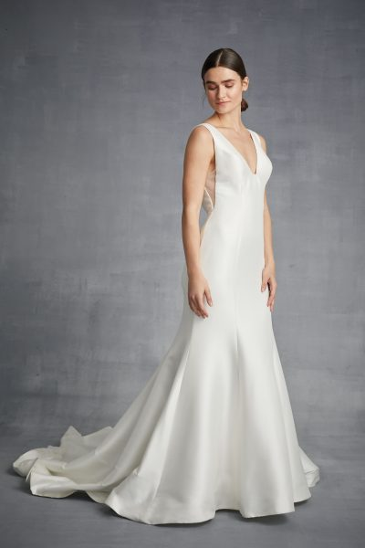 V-neck Silk Fit And Flare Wedding Dress by Danielle Caprese - Image 1