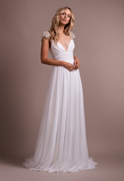 V-neck Rhinestone Cap Sleeve A-line Wedding Dress by Hayley Paige