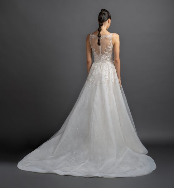 Illusion Neckline Beaded Bodice A-line Wedding Dress by Lazaro - Image 2