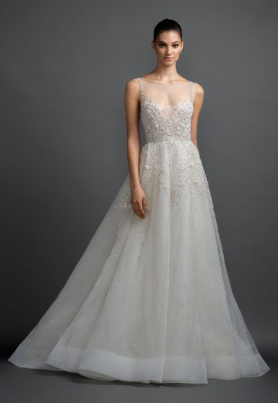 Illusion Neckline Beaded Bodice A-line Wedding Dress by Lazaro