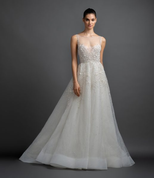 Illusion Neckline Beaded Bodice A-line Wedding Dress by Lazaro - Image 1