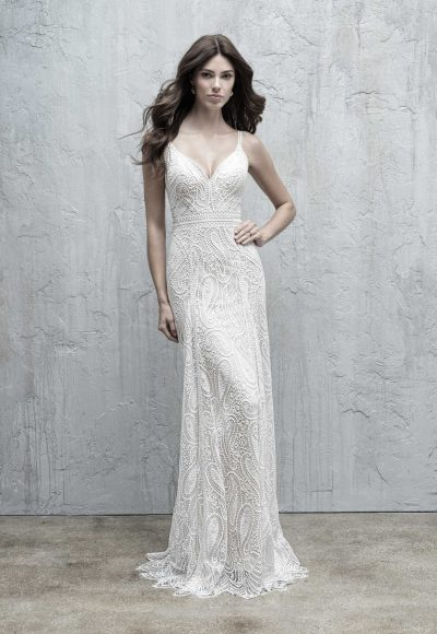 All Over Paisley Lace Sheath Wedding Dress by Madison James