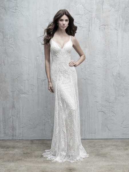 All Over Paisley Lace Sheath Wedding Dress by Madison James - Image 1