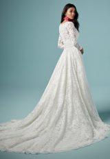 lace vneckline long sleeve ball gown wedding dress