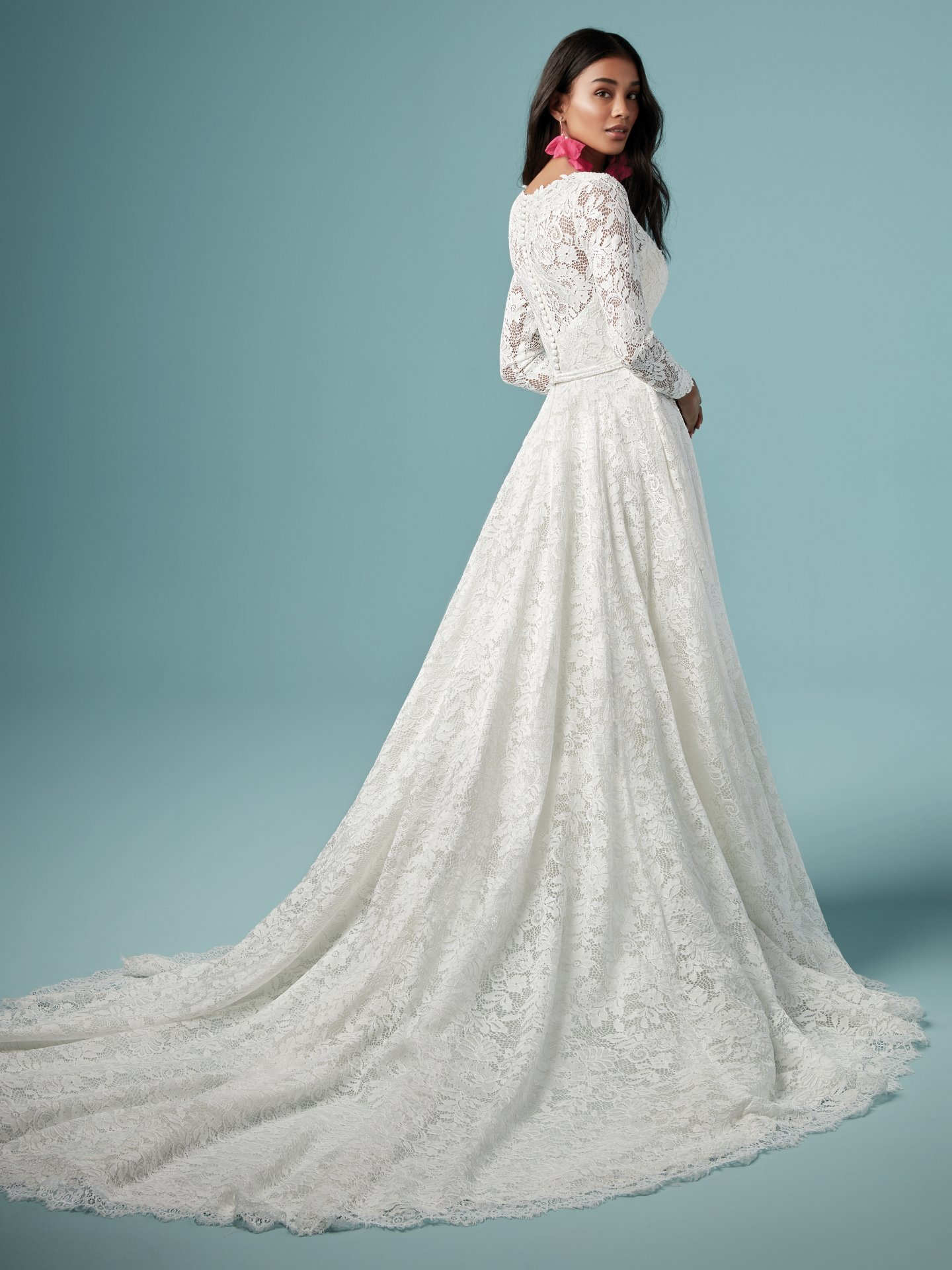 Lace V Neckline Long Sleeve Ball Gown Wedding Dress