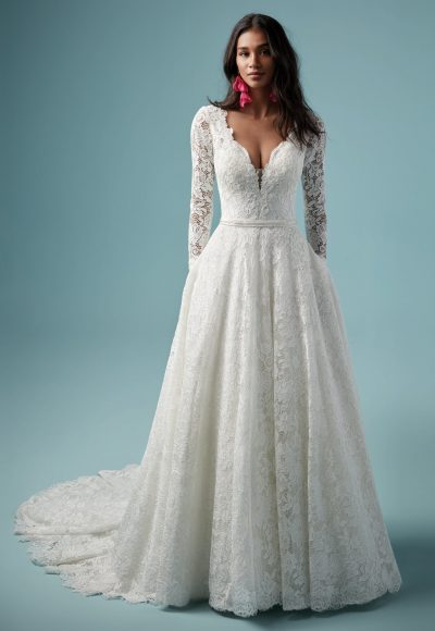 Lace V-neckline Long Sleeve Ball Gown Wedding Dress by Maggie Sottero