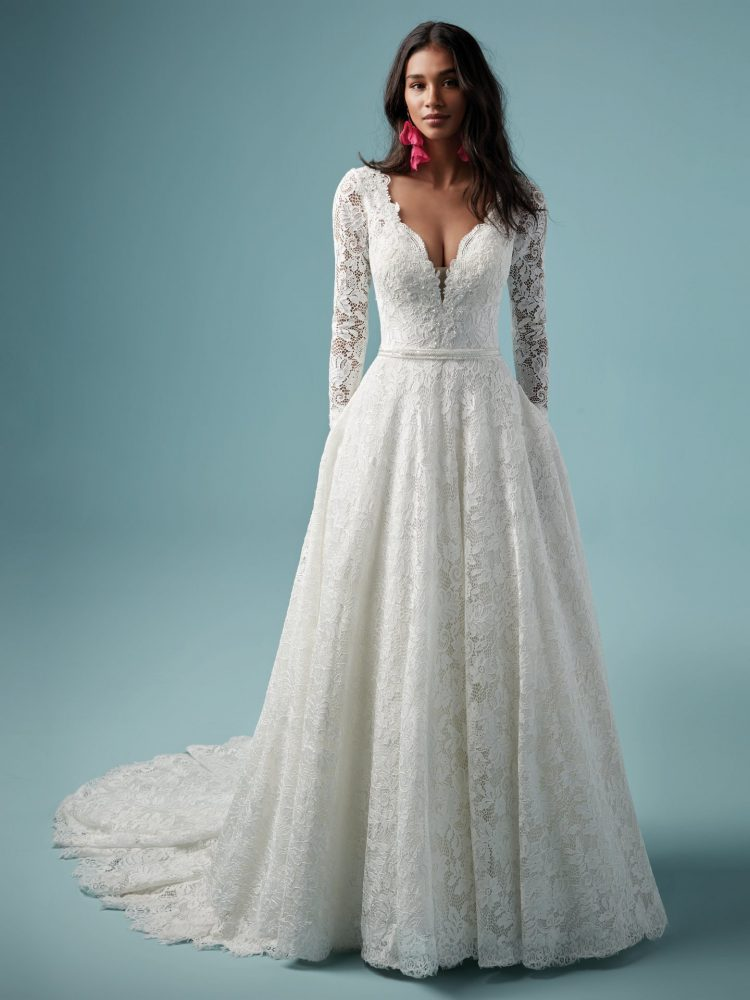 Lace V-neckline Long Sleeve Ball Gown Wedding Dress by Maggie Sottero - Image 1