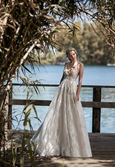 V-neck A-line Embroidered Lace Wedding Dress by Maison Signore