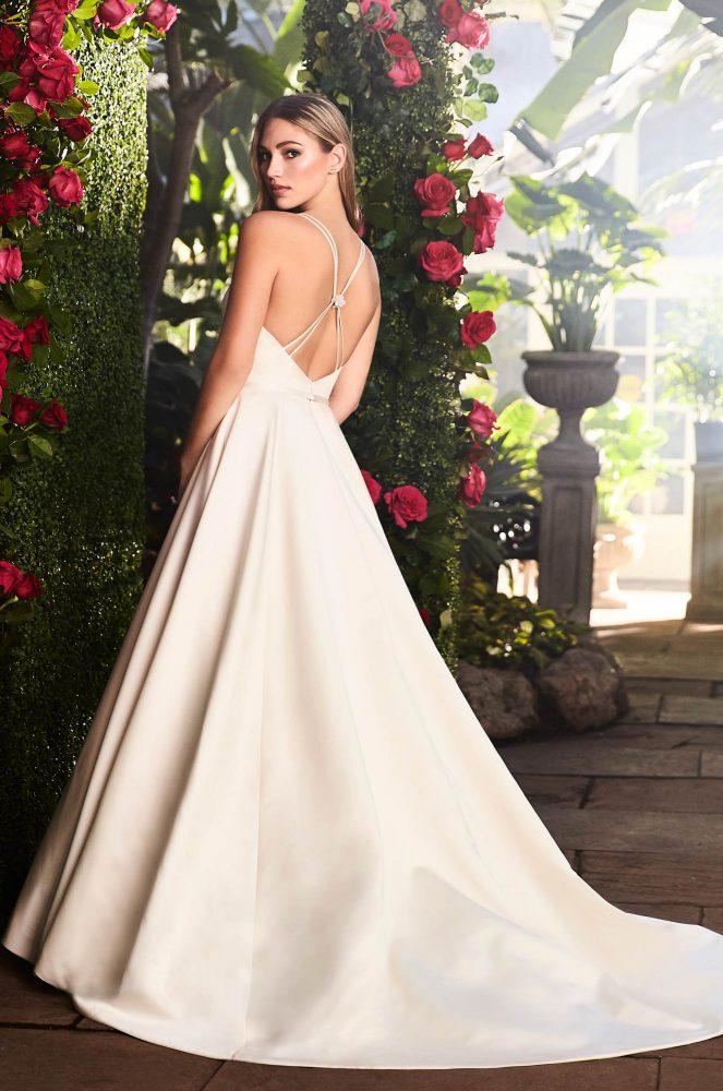 Spaghetti Strap V-neckline Satin A-line Wedding Gown With Belt by Mikaella - Image 2