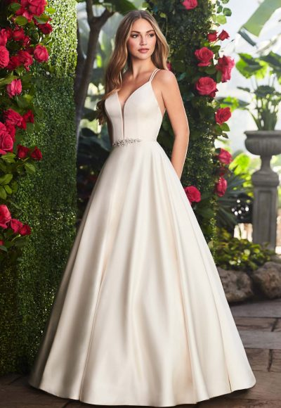 Spaghetti Strap V-neckline Satin A-line Wedding Gown With Belt by Mikaella