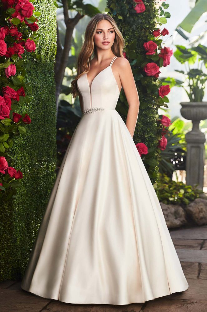 Spaghetti Strap V-neckline Satin A-line Wedding Gown With Belt by Mikaella - Image 1