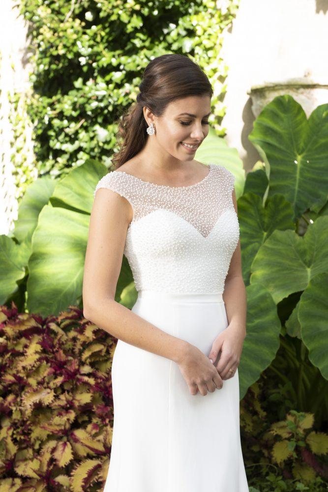Cap Sleeve Bateau Neckline Crepe Sheath Wedding Dress With Beaded Bodice by Modern Trousseau - Image 1