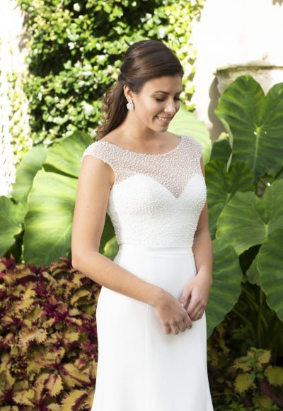 Cap Sleeve Bateau Neckline Crepe Sheath Wedding Dress With Beaded Bodice by Modern Trousseau