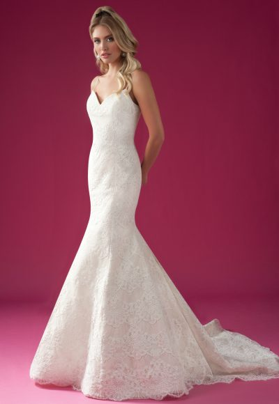 Scalloped Lace Fit And Flare Spaghetti Strap Wedding Dress. by Modern Trousseau
