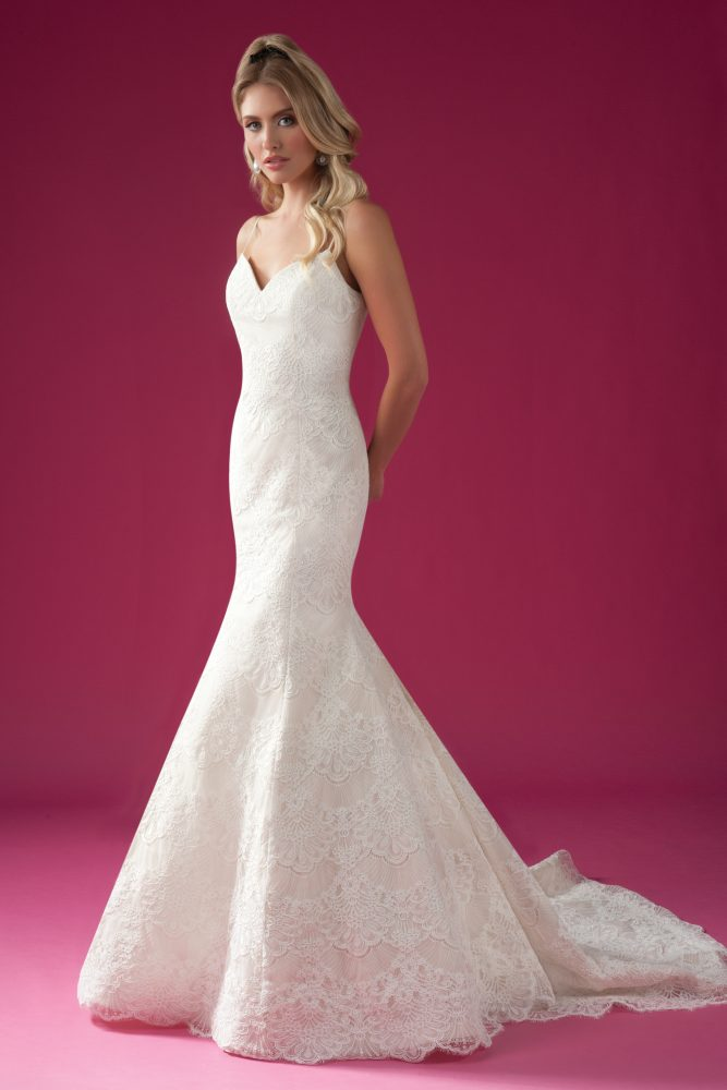 Scalloped Lace Fit And Flare Spaghetti Strap Wedding Dress. by Modern Trousseau - Image 1