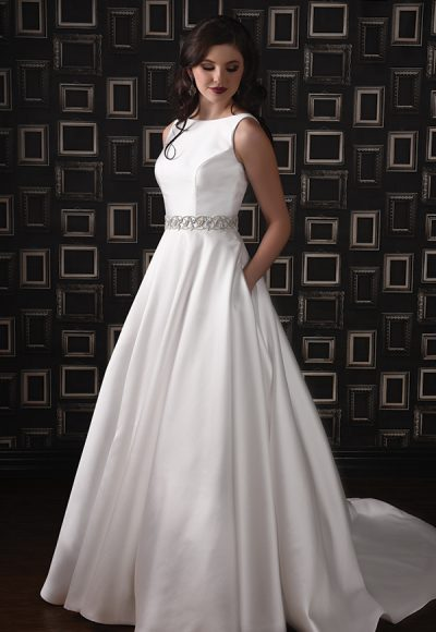 Sleeveless Silk Wedding Dress With Bateau Neckline And A-line Skirt by Modern Trousseau