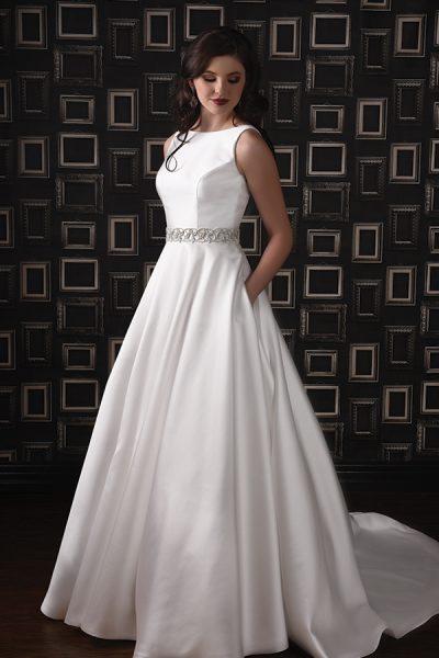 Sleeveless Silk Wedding Dress With Bateau Neckline And A-line Skirt by Modern Trousseau - Image 1