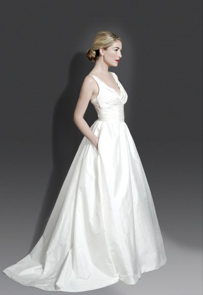 V-neck Sleeveless Silk Ballgown With Lace Detailing At Back by Modern Trousseau