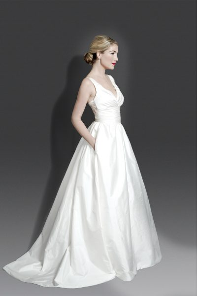 V-neck Sleeveless Silk Ballgown With Lace Detailing At Back by Modern Trousseau - Image 1
