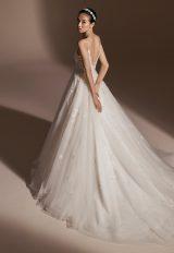 Spaghetti Strap V-neckline Beaded Floral Appliqué Ball Gown Wedding Dress by Pronovias - Image 2