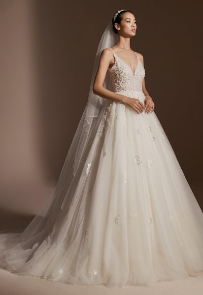 Spaghetti Strap V-neckline Beaded Floral Appliqué Ball Gown Wedding Dress by Pronovias