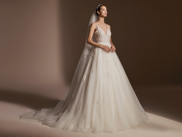 Spaghetti Strap V-neckline Beaded Floral Appliqué Ball Gown Wedding Dress by Pronovias - Image 1