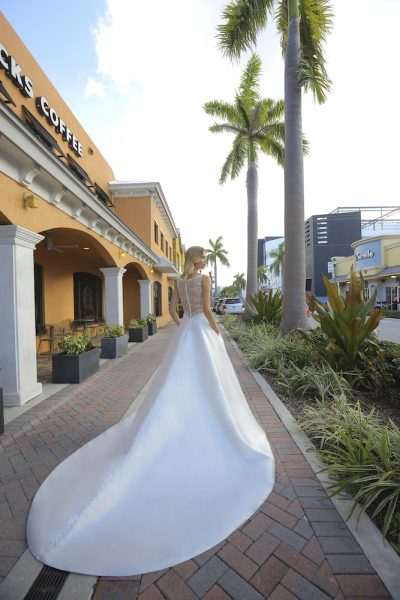 A-line Silk V-neck Wedding Dress by Randy Fenoli - Image 2