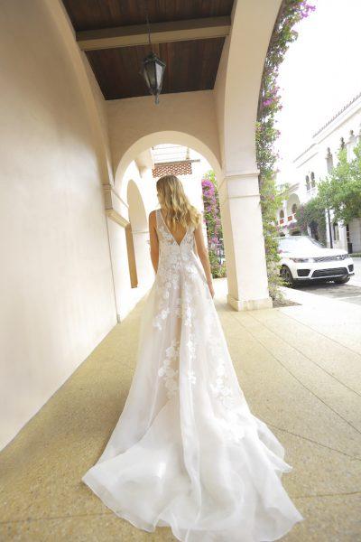 Randy Fenoli Wedding Dresses.Blush V Neck A Line Wedding Dress