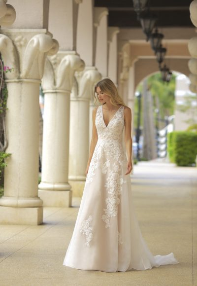 Blush V-neck A-line Wedding Dress by Randy Fenoli