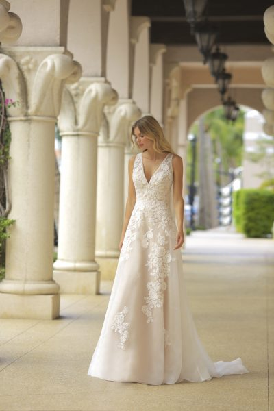 Blush V-neck A-line Wedding Dress by Randy Fenoli - Image 1