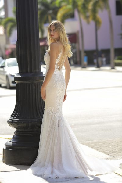 Illusion Neckline Blush Embroidered Lace Wedding Dress by Randy Fenoli - Image 2